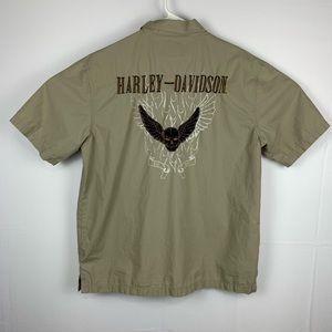 Harley Davidson Embroidered Skull & Wing Tan Shirt